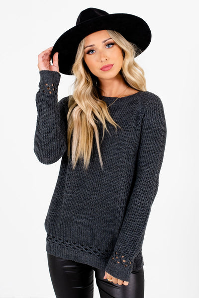 Charcoal Gray High-Quality Knit Material Boutique Sweaters for Women