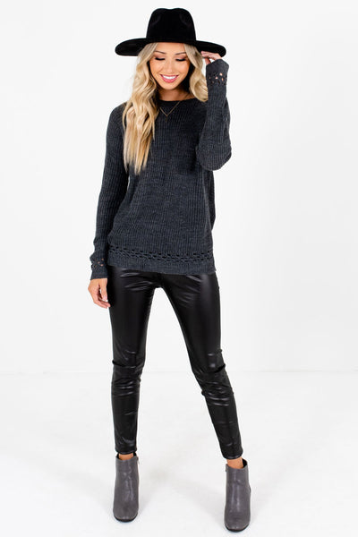 Women's Charcoal Gray Layering Boutique Sweater