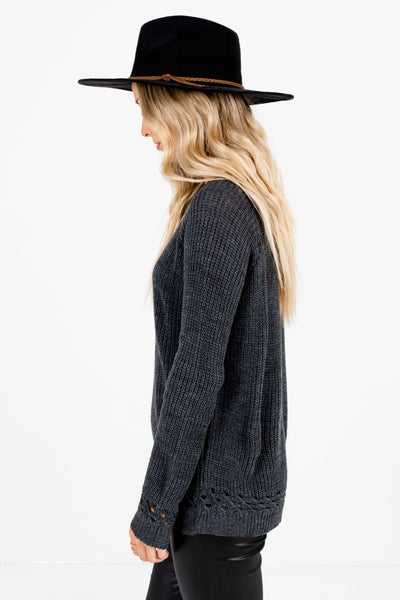 Charcoal Gray Round Neckline Boutique Sweaters for Women