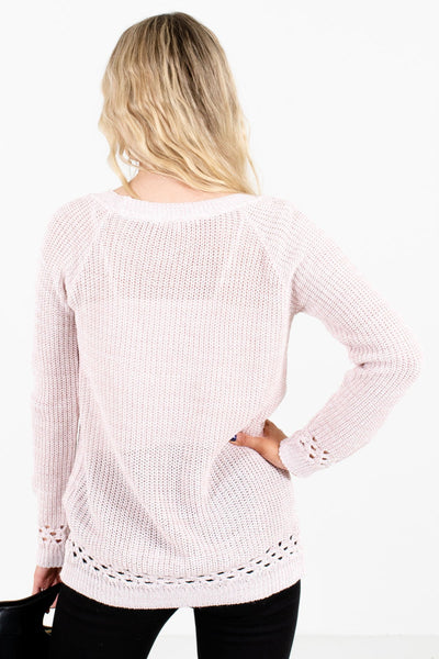 Women's Light Pink Unique Cutout Detailed Boutique Sweater
