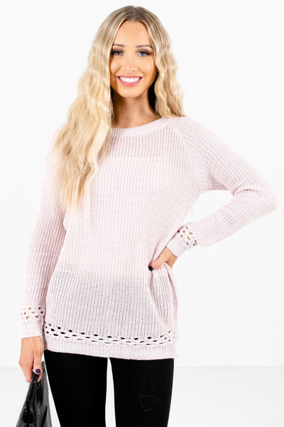 Women's Light Pink Layering Boutique Sweater