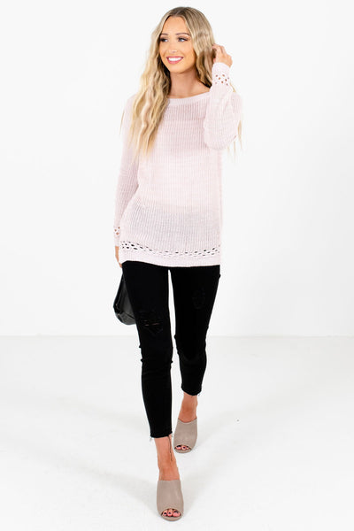 Light Pink Cute and Comfortable Boutique Sweaters for Women