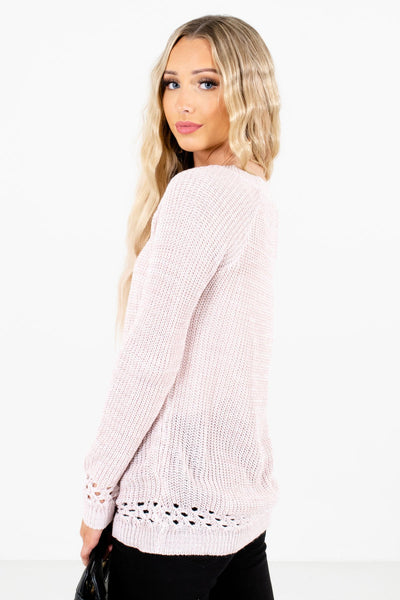 Light Pink Round Neckline Boutique Sweaters for Women