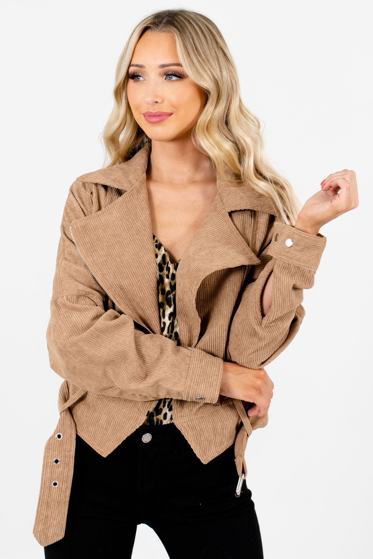 Camel Brown Zip-Up Front Boutique Jackets for Women