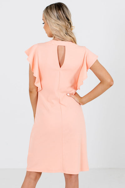 Women's Peach Pink Keyhole Back Boutique Knee-Length Dress
