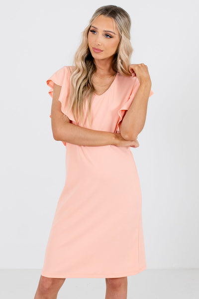 Peach Pink Knee-Length Boutique Dresses for Women