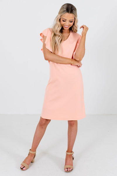 Peach Pink Cute and Comfortable Boutique Knee-Length Dresses for Women