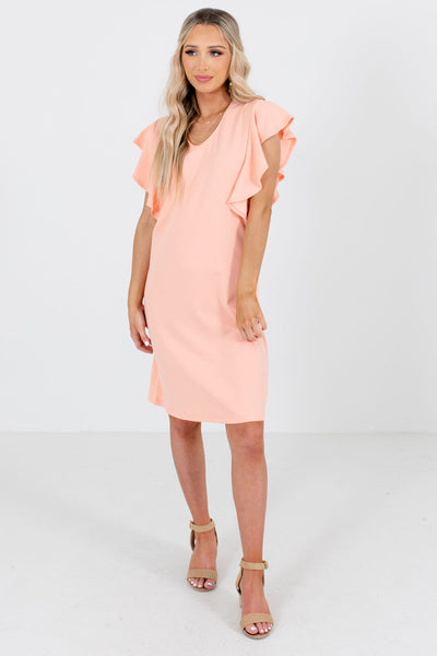 Women's Peach Pink V-Neckline Boutique Knee-Length Dress