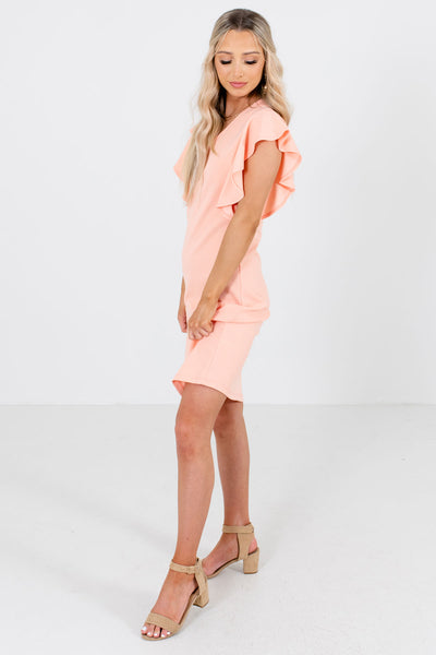 Peach Pink Ruffle Sleeve Boutique Knee-Length Dresses for Women