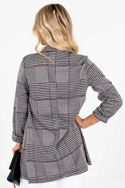 Gray Burgundy Black Houndstooth Plaid Blazers for Women