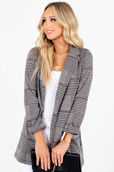 Gray Houndstooth Plaid Relaxed Blazers for Women