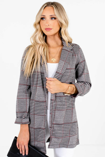 Gray Black Burgundy Houndstooth Plaid Blazers for Women
