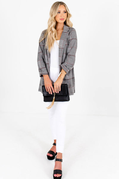 Gray Burgundy Houndstooth Plaid Blazers for Women