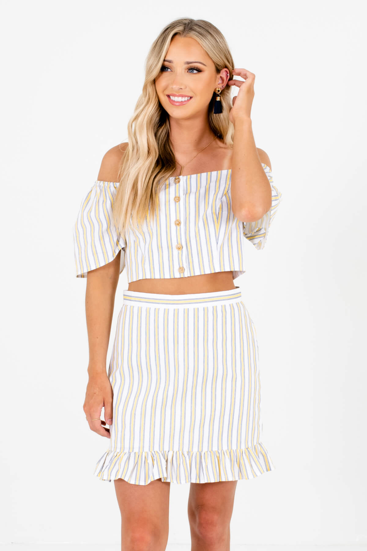 White Stripe Patterned Boutique Two-Piece Sets for Women