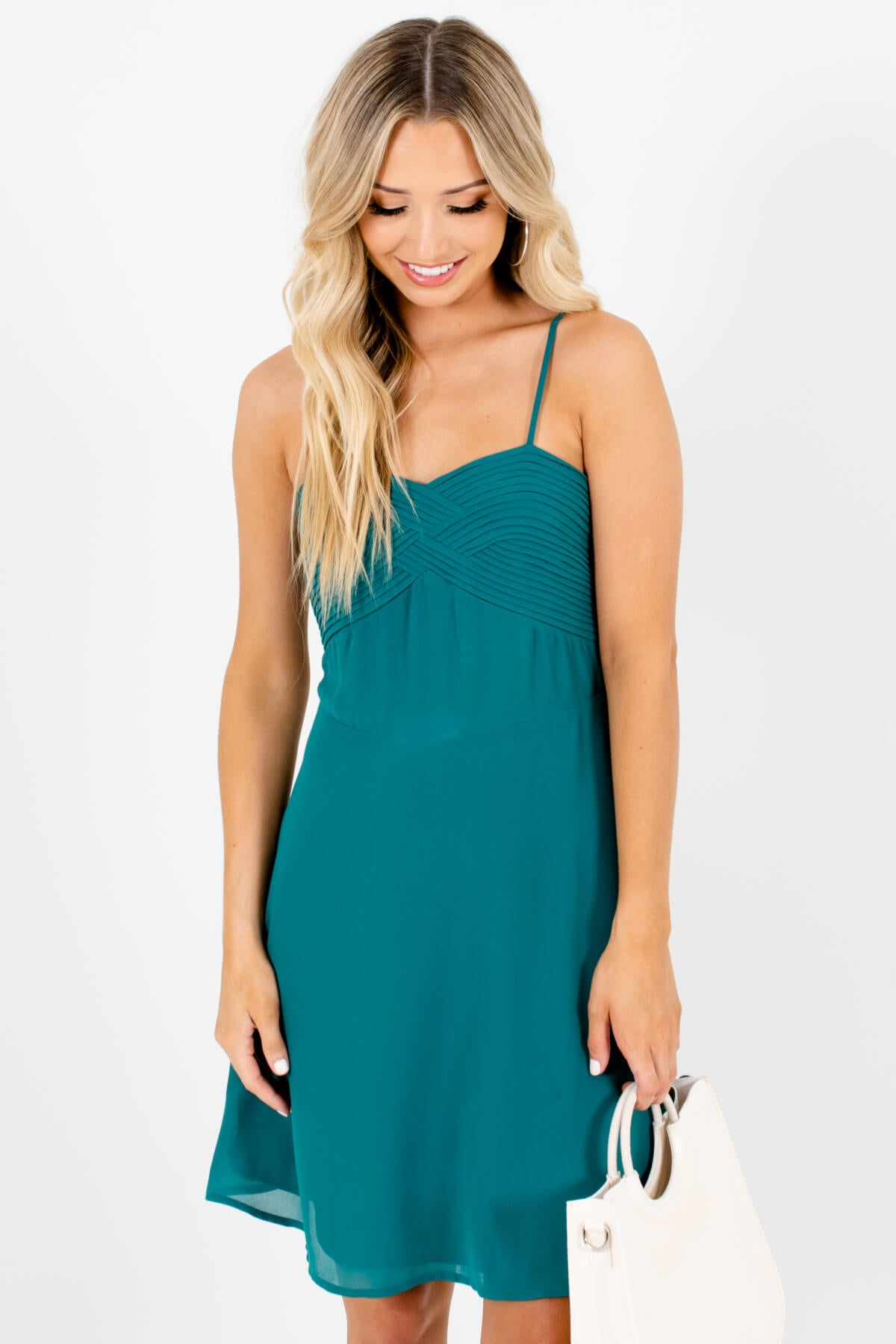 Teal Blue Pleated Neckline Detailed Boutique Mini Dresses for Women
