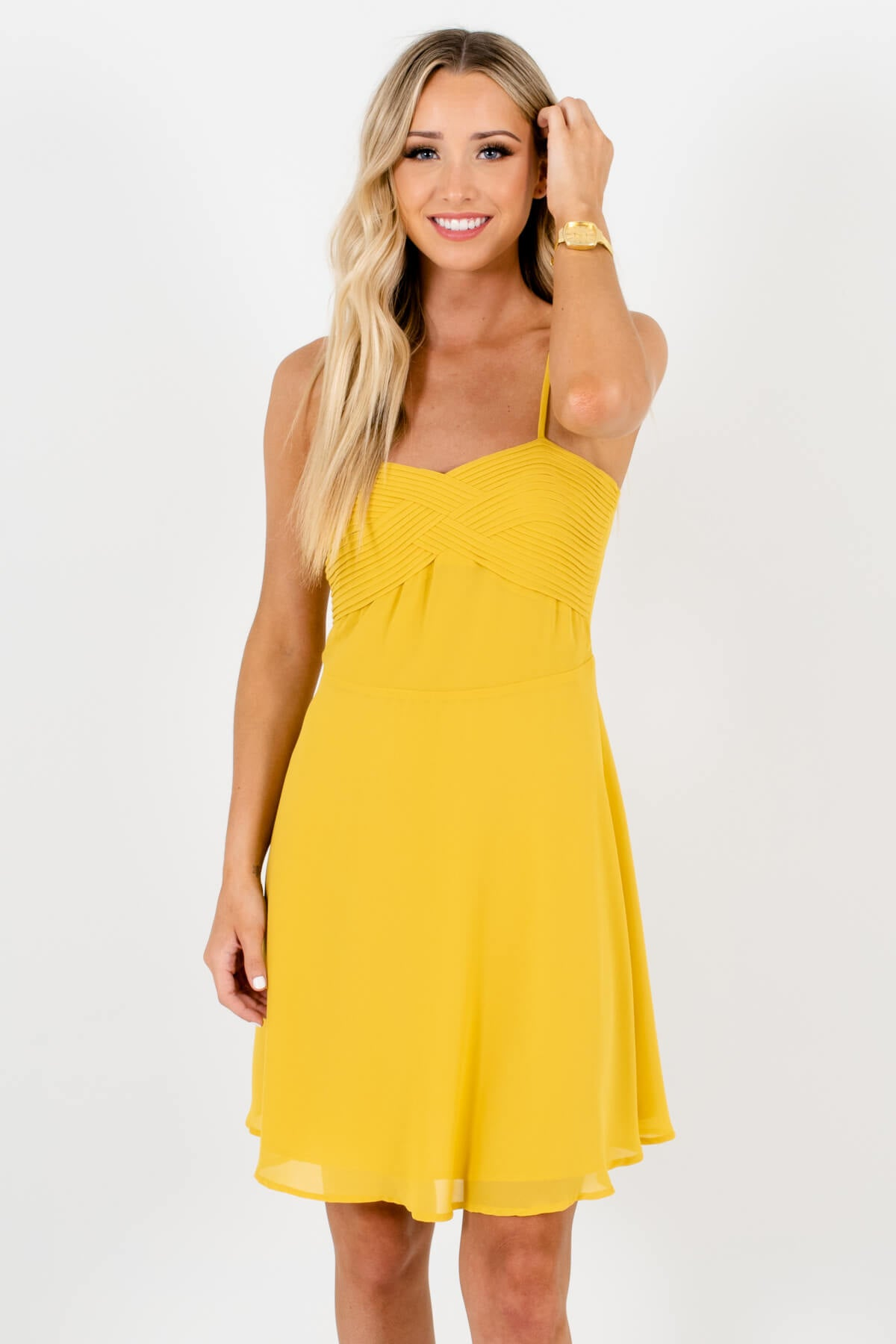 Yellow Pleated Neckline Detailed Boutique Mini Dresses for Women