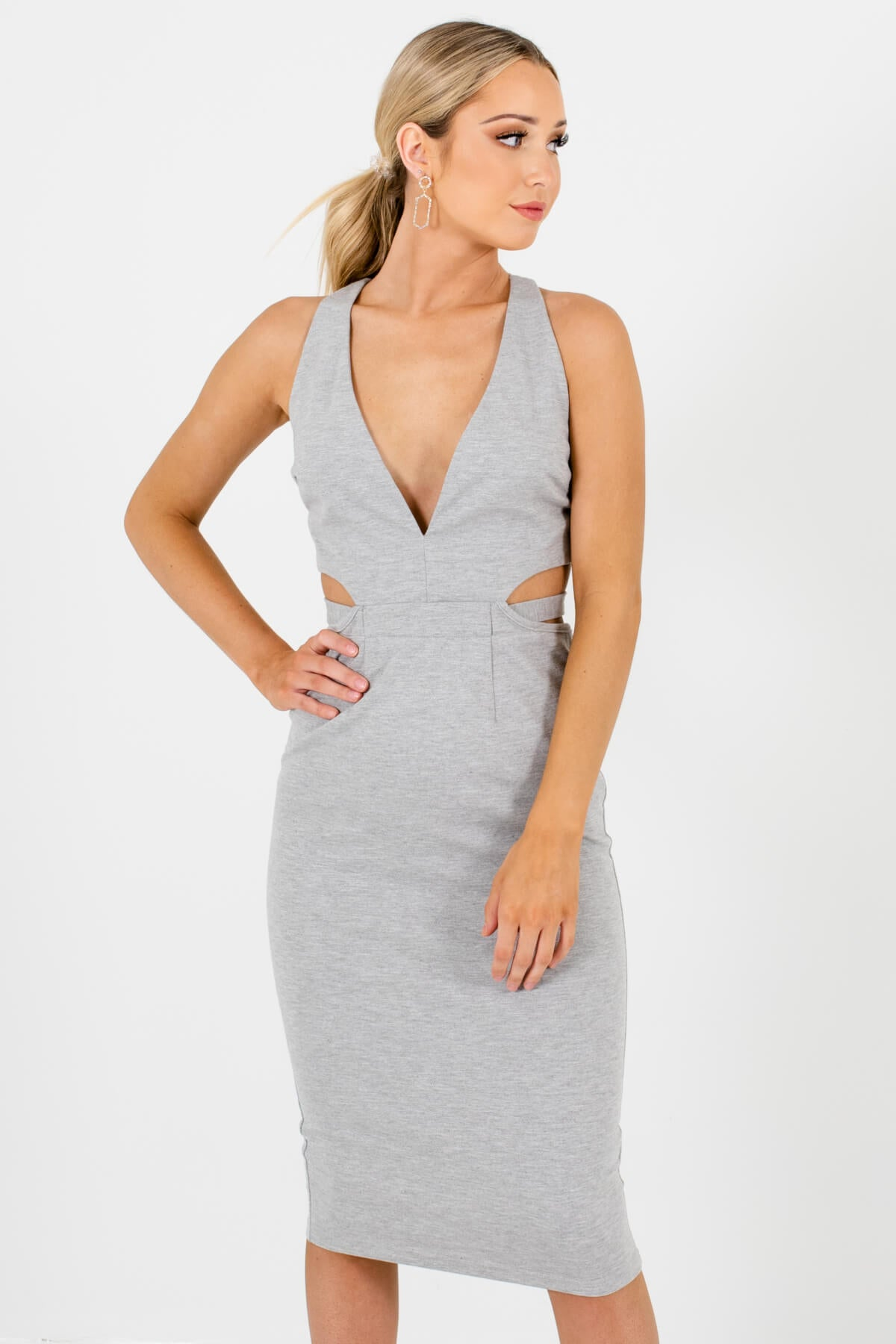 Heather Gray Cutout Detail Boutique Knee-Length Dresses for Women
