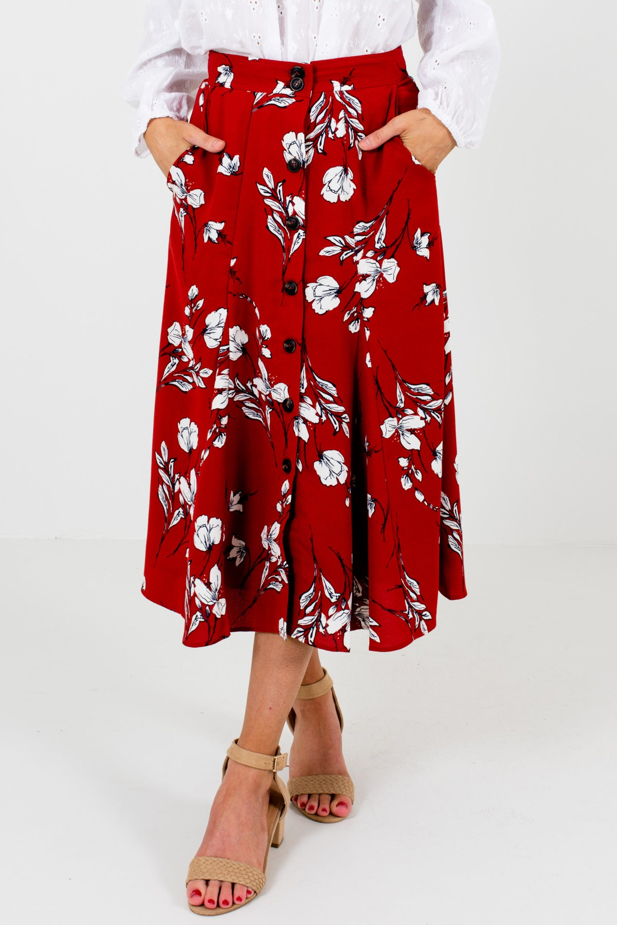 Red White Navy Floral Button Up Midi Skirts with Pockets for Women