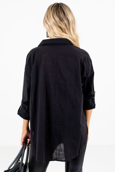 Women's Black High-Low Hem Boutique Shirt