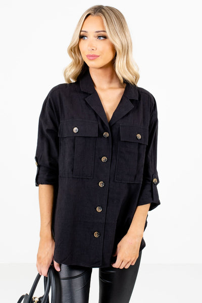 Black Button-Up Front Boutique Shirts for Women