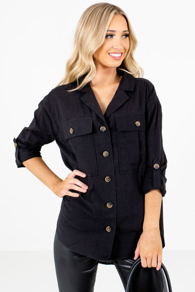 Women's Black Front Pocket Boutique Shirts