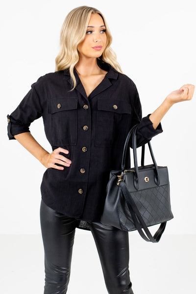 Women's Black Business Casual Boutique Shirt