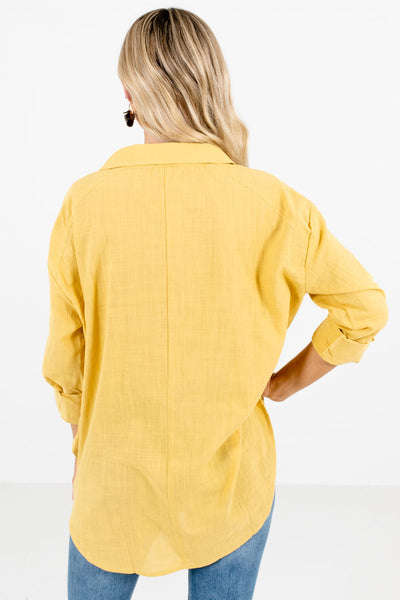 Women's Yellow High-Low Hem Boutique Shirt
