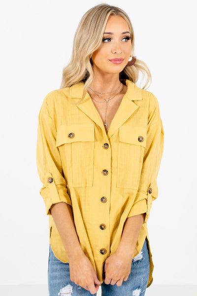 Women's Yellow Front Pocket Boutique Shirts