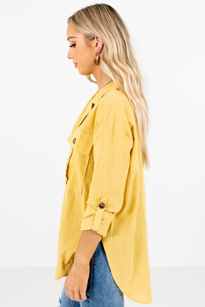 Yellow ¾ Length Sleeve Boutique Shirts for Women