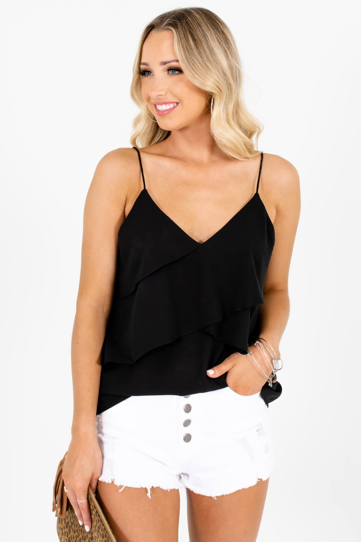 Black Ruffled Bodice Boutique Tank Tops for Women