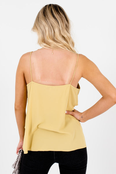 Women's Yellow Sleek Spaghetti Strap Boutique Tank Top