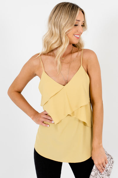 Yellow V-Neckline Boutique Tank Tops for Women