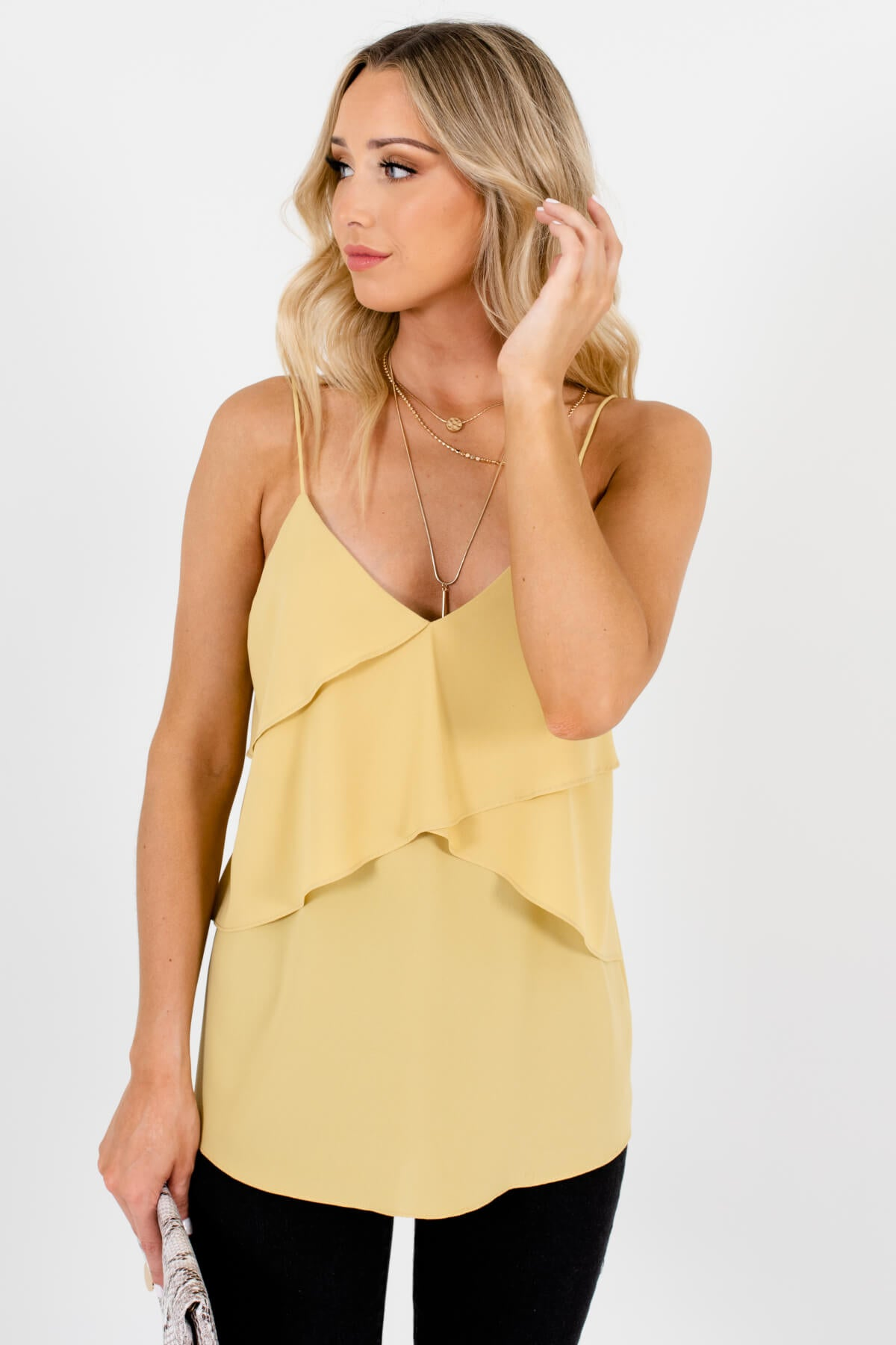 Yellow Ruffled Bodice Boutique Tank Tops for Women