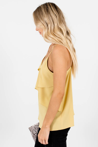 Women's Yellow Lightweight High-Quality Material Boutique Tank Top