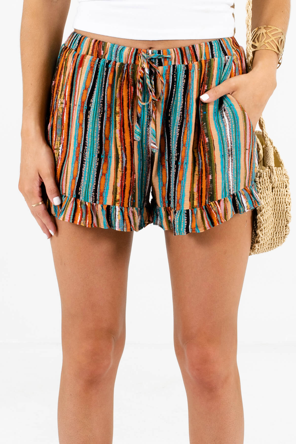 Teal Multi Stripe Patterned Boutique Shorts for Women