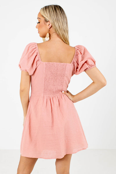 Women's Pink Smocked Back Boutique Mini Dress