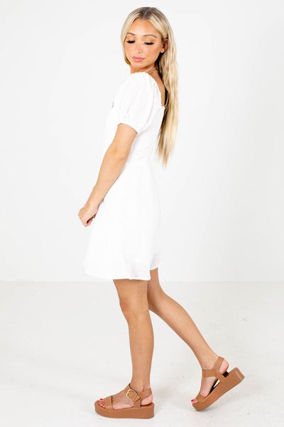 Women's White Partially Lined Boutique Mini Dress