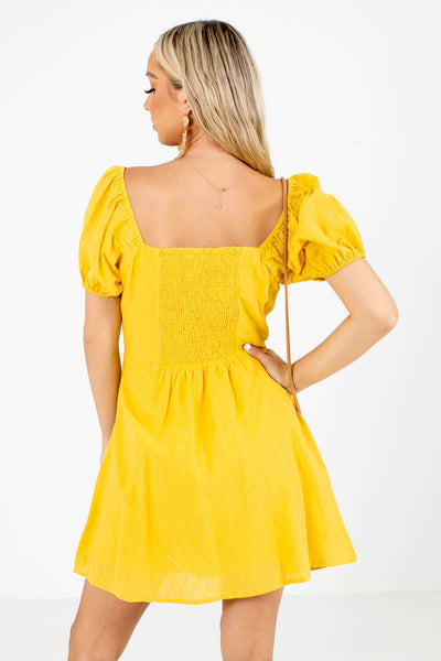 Women's Yellow Lightweight Boutique Mini Dress