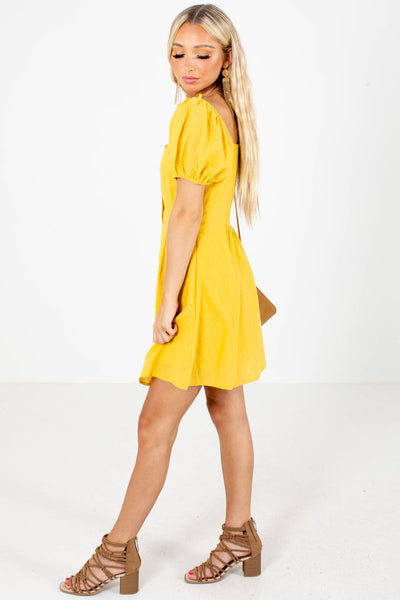 Yellow Button-Up Bodice Boutique Mini Dresses for Women