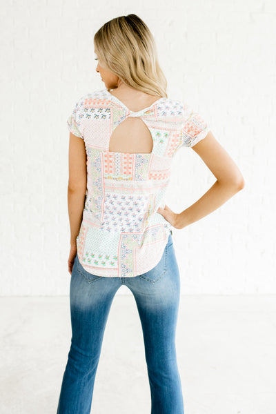 White Patchwork Print Boutique Tees with Back Cutout and Cuffed Sleeves