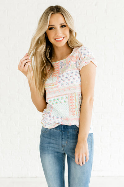 White Multi Color Patchwork Print Tees Affordable Online Boutique