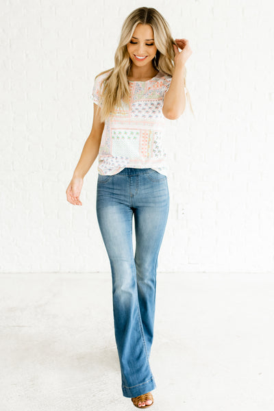 White Multicolored Patchwork Print Bohemian Boutique Tees