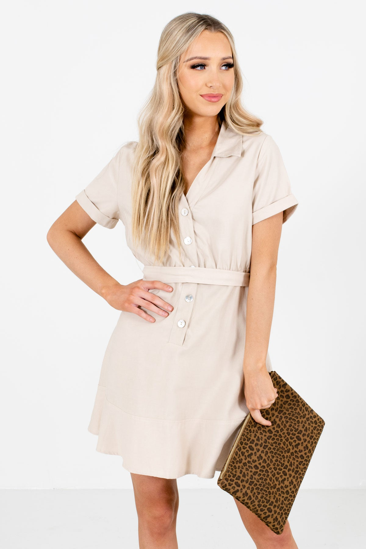 Tan Brown Button-Up Front Boutique Mini Dresses for Women