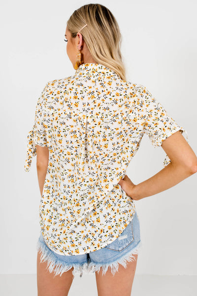 White Yellow Green Floral Print Shirts and Blouses for Women