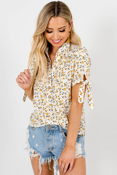 White Mustard Green Floral Print Tops and Blouses for Women