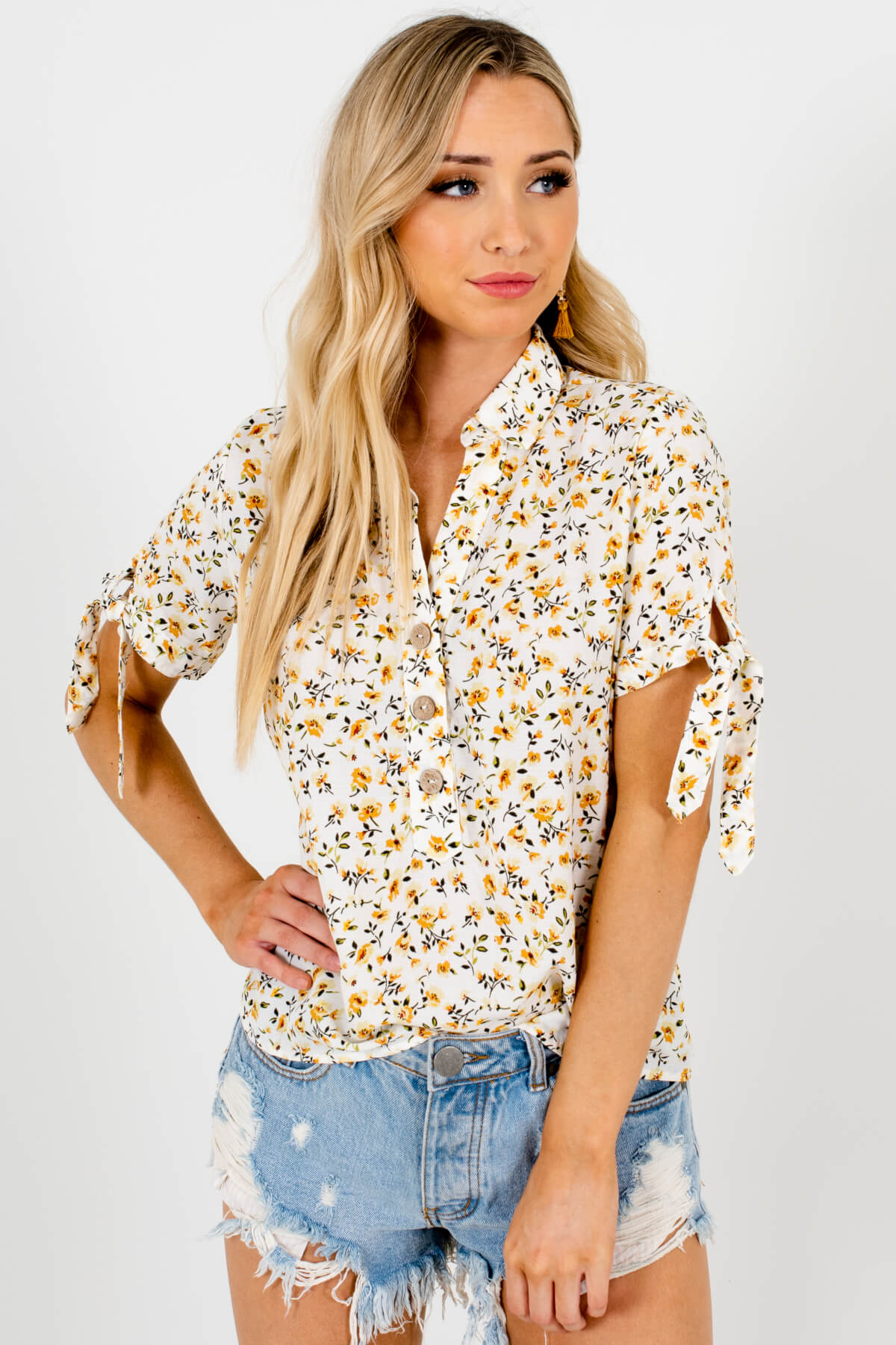 White Mustard Floral Print Button-Up Shirt Collar Blouses for Women