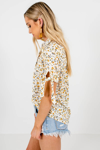 White Mustard Green Floral Print Blouses Affordable Online Boutique