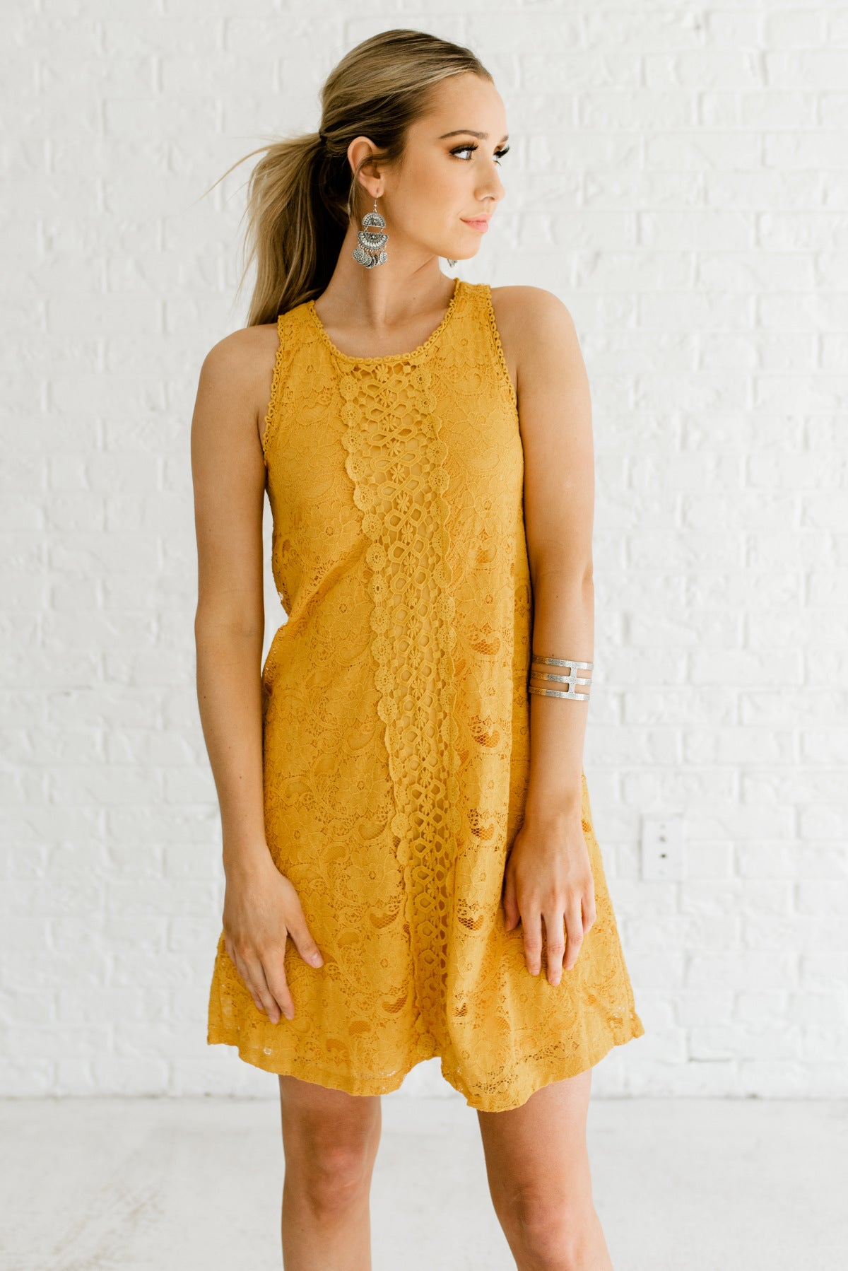 Mustard Yellow Lace Overlay Boutique Mini Dresses for Women