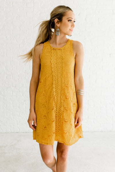 Mustard Yellow Cute High-Quality Boutique Short Dresses for Women