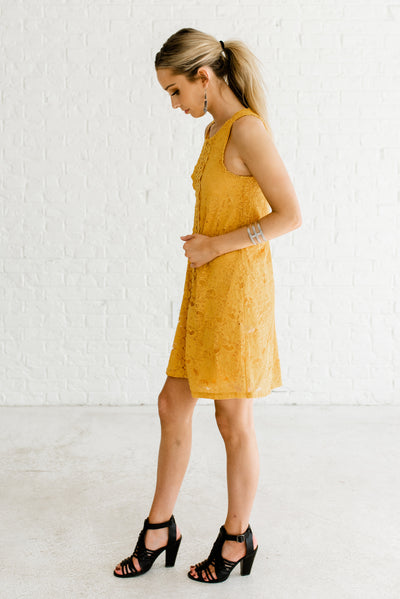 Mustard Yellow Business Casual Boutique Dresses for Women